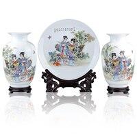 Jingdezhen ceramics ladies figure three piece classical decorative handicrafts Home Furnishing vase plate