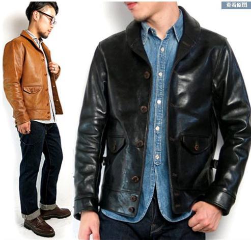 Free Shipping.Brand Cossack Horsehide Coat,man 100% Genuine Leather Jackets,fashion Men's Slim Japan Style Leather Jacket,