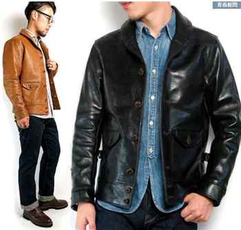 Free shipping.Brand Cossack horsehide coat,man 100% genuine leather Jackets,fashion men\'s slim japan style leather jacket, - DISCOUNT ITEM  10 OFF Men\'s Clothing