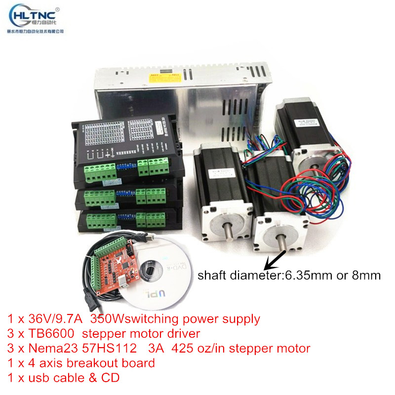 NEW Free shipping CNC Router 3 Axis kit TB6600 Stepper motor driver 3A Nema23 425 Oz