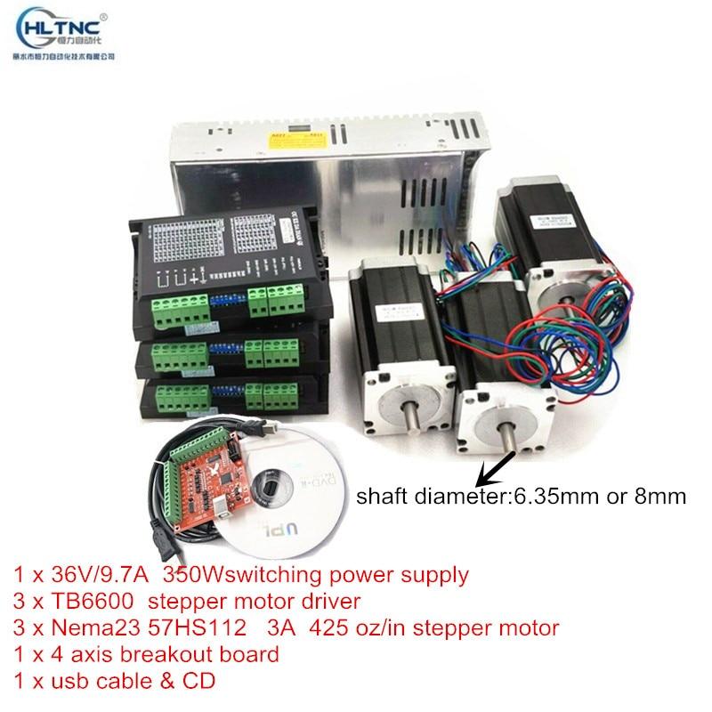 RUS Ship CNC routeur 3 axes kit TB6600 moteur pas à pas pilote + 3A Nema23 425 oz-in moteur + 350W alimentation
