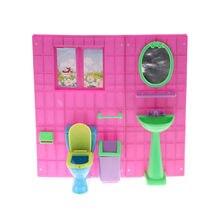 poppenhuis meubels leuke pop closestool vuilnisbak wastafel spiegel wc met muur wassen apparaten voor barbie