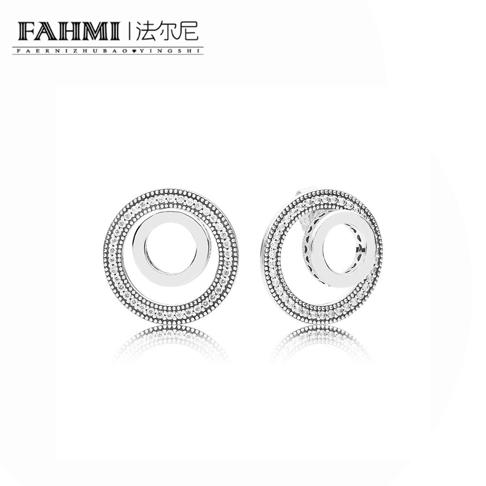 FAHMI 100% 925 Sterling Silver Charm 297446CZ-1 FOREVER SIGNATURE EARRING STUDS Women's Jewelry Fashion Gift Commemoration 0