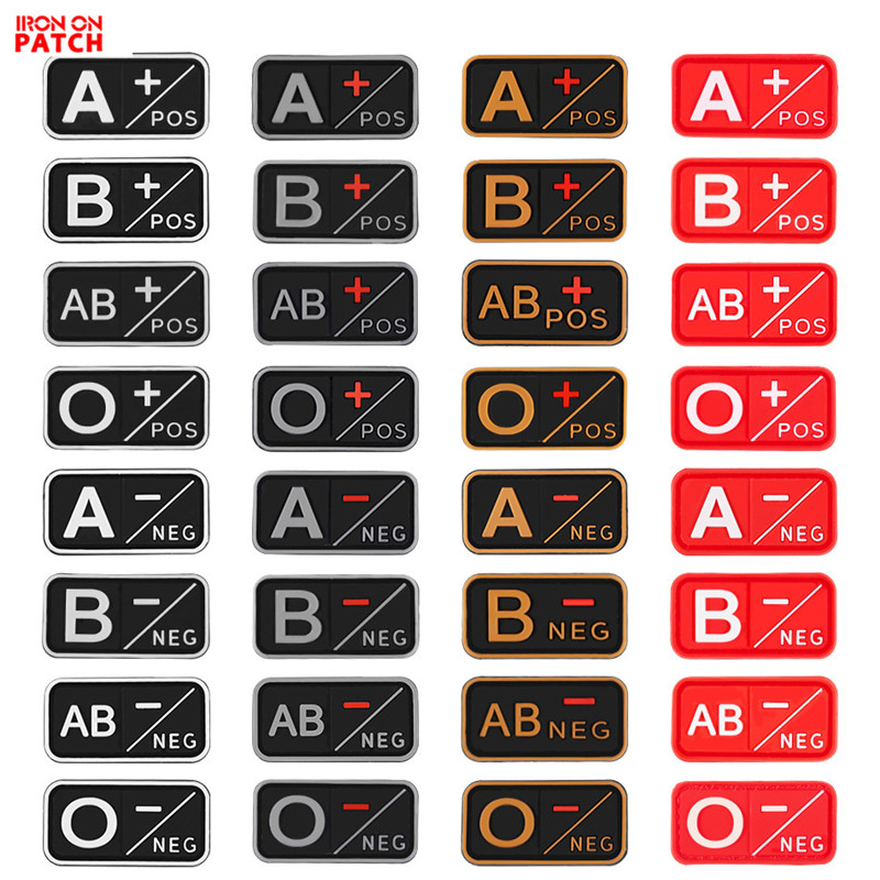 Morale Patches Rubber Badges A-B-Ab-O-Negative-Neg Blood-Type Positive Military Tactical title=