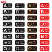 3D PVC A + B + AB + O + POS A-b-ab-O-negativo grupo de sangre parche táctico moral parches insignias de goma militar