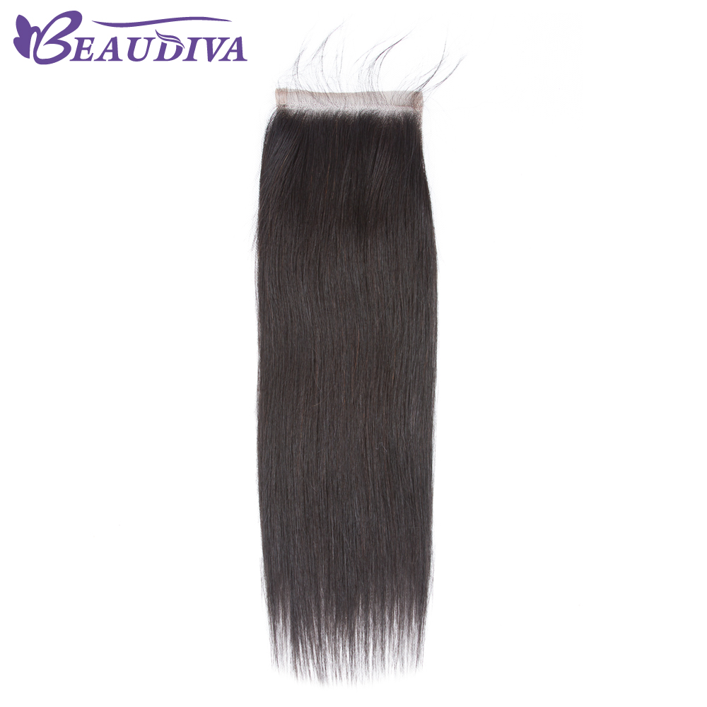 BEAUDIVA Brazilian Straight Hair Lace Closure Free/Middle/Three Part 100% Human Hair 4x4 inch Swiss Lace Top Closure