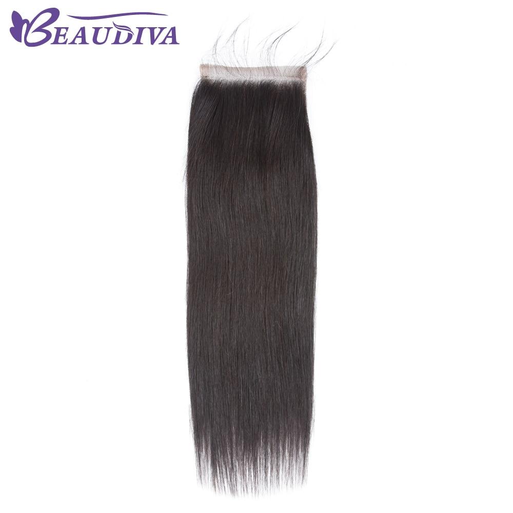 Beaudiva бразильский прямые волосы Синтетическое закрытие шнурка волос Бесплатная/средний/третья часть Remy Человеческие волосы 4x4 дюймов швейц... ...