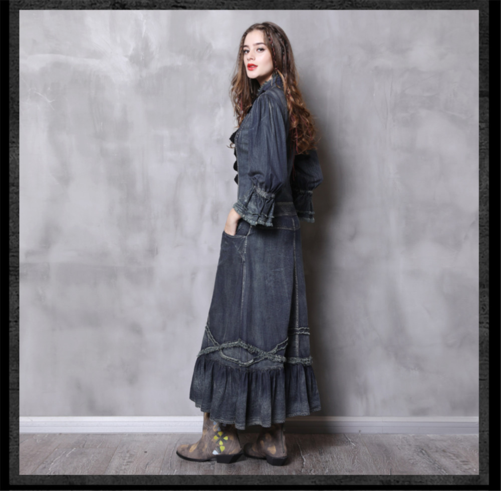 Vintage Autumn Dress Women With Pockets 2018 New Denim Dresses Stand Collar Long Elegant Lace Patchwork Vestidos Femininos (15)