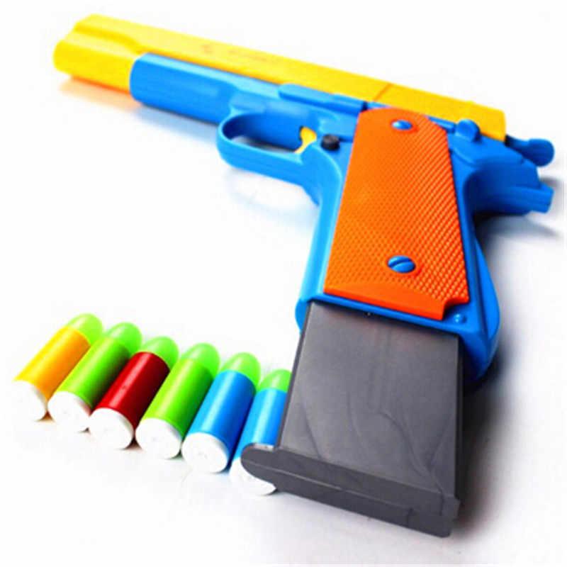 10Pcs พลาสติกกระสุนปืนปืนไรเฟิลด้วยตนเองสั้น Luminous กระสุนปืนไรเฟิลกึ่งอัตโนมัติ Pistols ของเล่นกลางแจ้ง