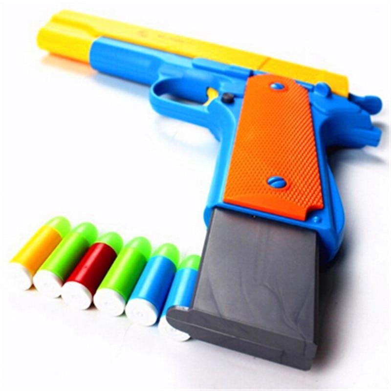 10Pcs Plastic Soft Bullets Gun  Rifle Gun Manual Short Gun Luminous Bullets Sniper Rifle Semi-automatic Pistols Outdoor Toys