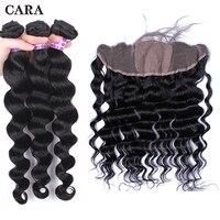 3 человека пучки волос с фронтальной свободные волна волос бразильский Девы пучки волос Шелковый База Кружева Фронтальная застежка CARA