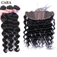 3 Human Hair Bundles With Frontal Loose Wave Hair Extensions Brazilian Virgin Hair Bundles Silk Base Lace Frontal Closure CARA
