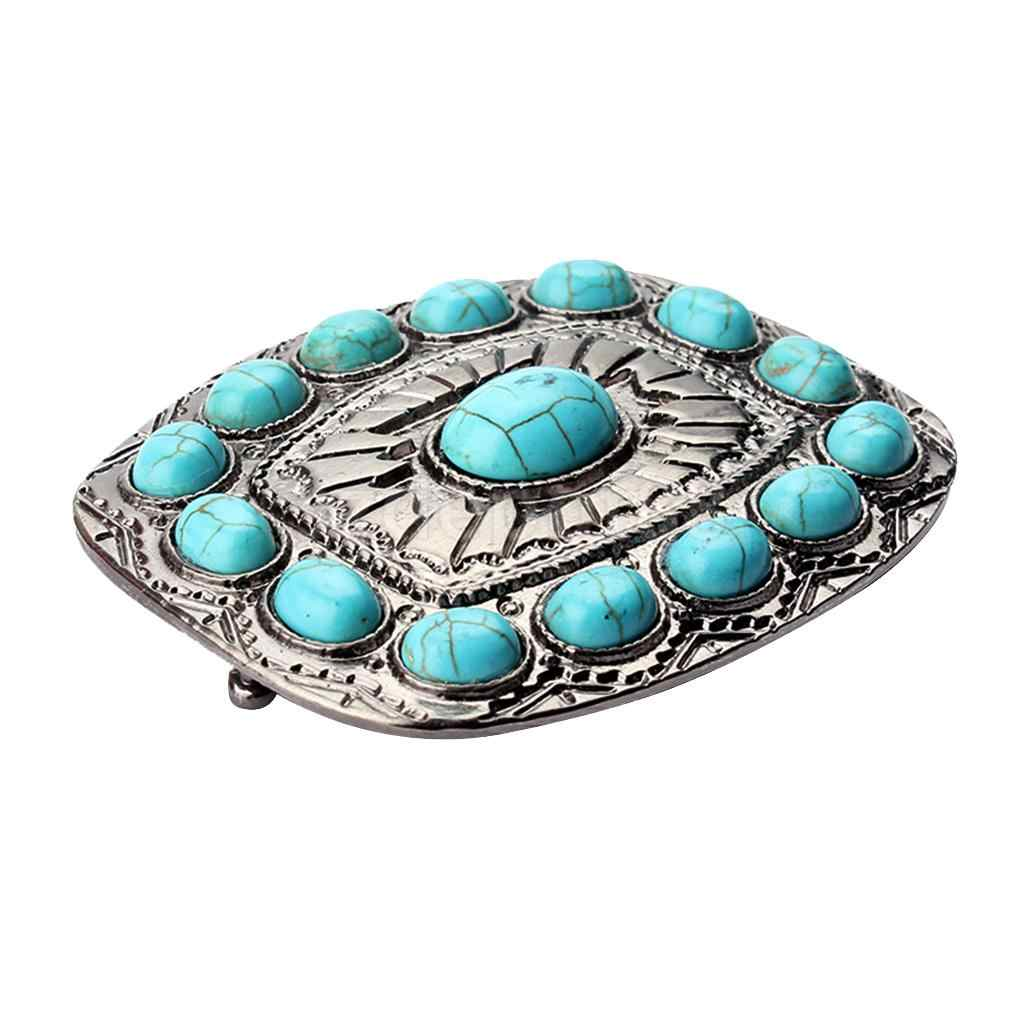Vintage Antique Silver Turquoise Belt Buckle Western Buckles For Men Women