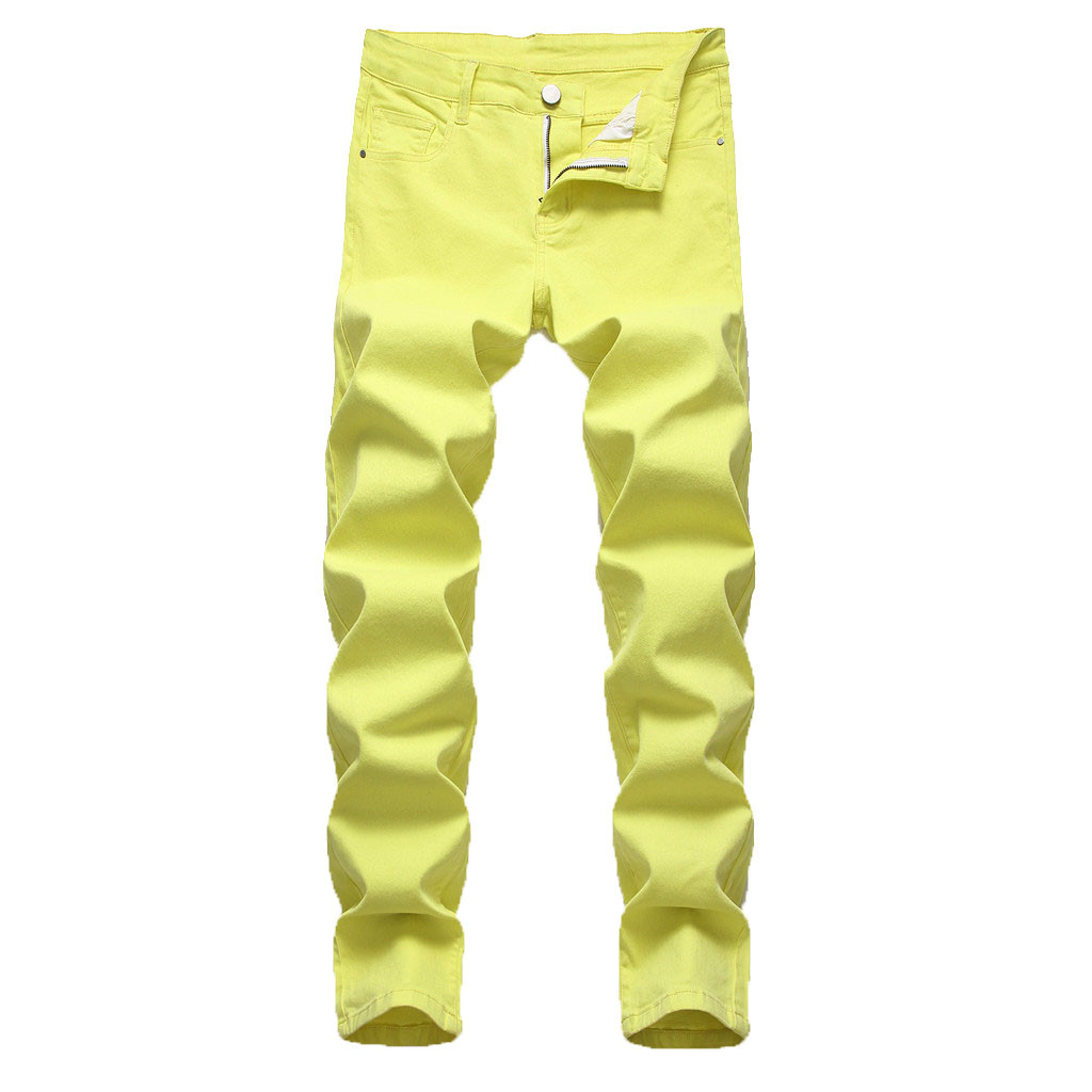 Streetwear Joggers Fashion Men's Casual Personality Slim Fit Denim Jeans Pants Yellow Or Red Pantalon Homme джоггеры штаны
