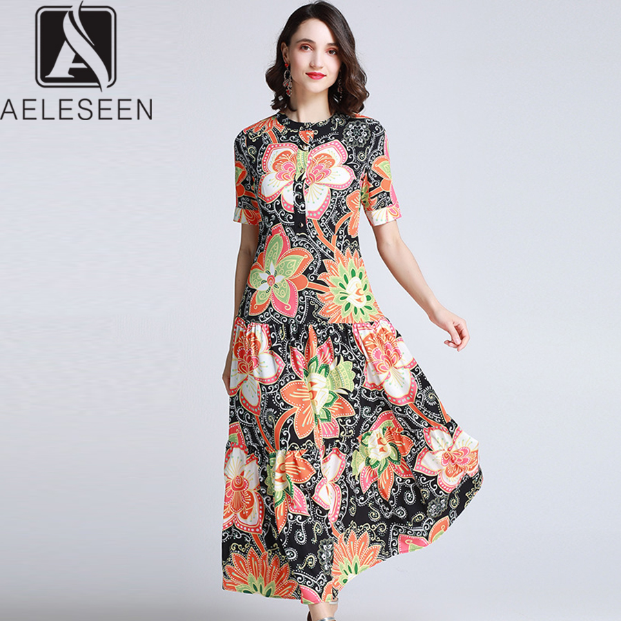 AELESEEN Runway Print Dress 2019 Summer Bohemain New Fashion Flower Print Beach Patchwork Ankle Length Long