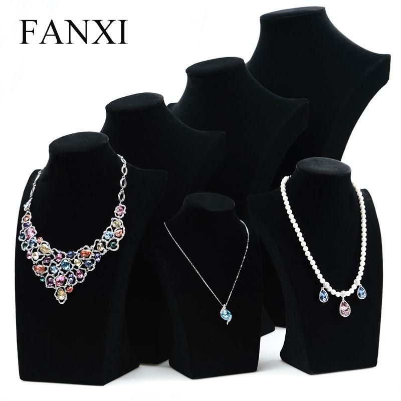 купить FANXI Elegant Black Ice Velvet Jewelry Display Stand Pendant&Necklace Bust Holder Jewelry Exhibitor Mannequin Oragnizer Showcase онлайн