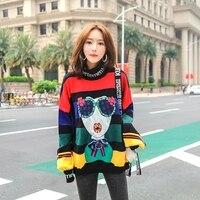 SexeMara fashion The New Wild Boss stripe Loose Sequin knitting Cartoon Sweater free shipping