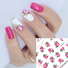 Red Bloomy Floral Flower Nail Art Water Decals Transfer Stickers Nail Sticker Manicure Decoration G113