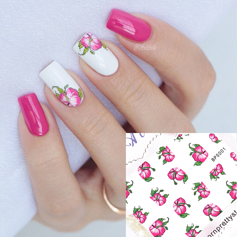 Red Bloomy Floral Flower Nail Art Water Decals Transfer Stickers Nail Sticker Manicure Decoration G113 ds300 2016 new water transfer stickers for nails beauty harajuku blue totem decoration nail wraps sticker fingernails decals