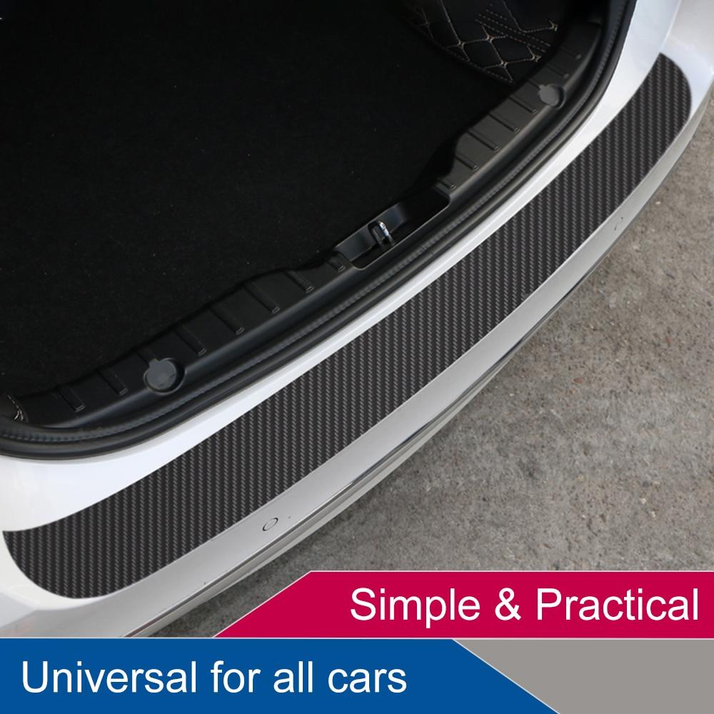 US 5PC DIY Car 3D Carbon Fiber Look Inner Rear Bumper Protector Sill Trunk Trim