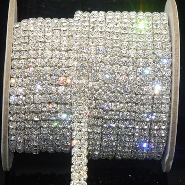 1 ярд SS16 Ясно горный хрусталь пришить клей 2-ряд сверла цепь серебро близко отделкой цепочкой обрезки DIY Швейные аксессуары художественных промыслов