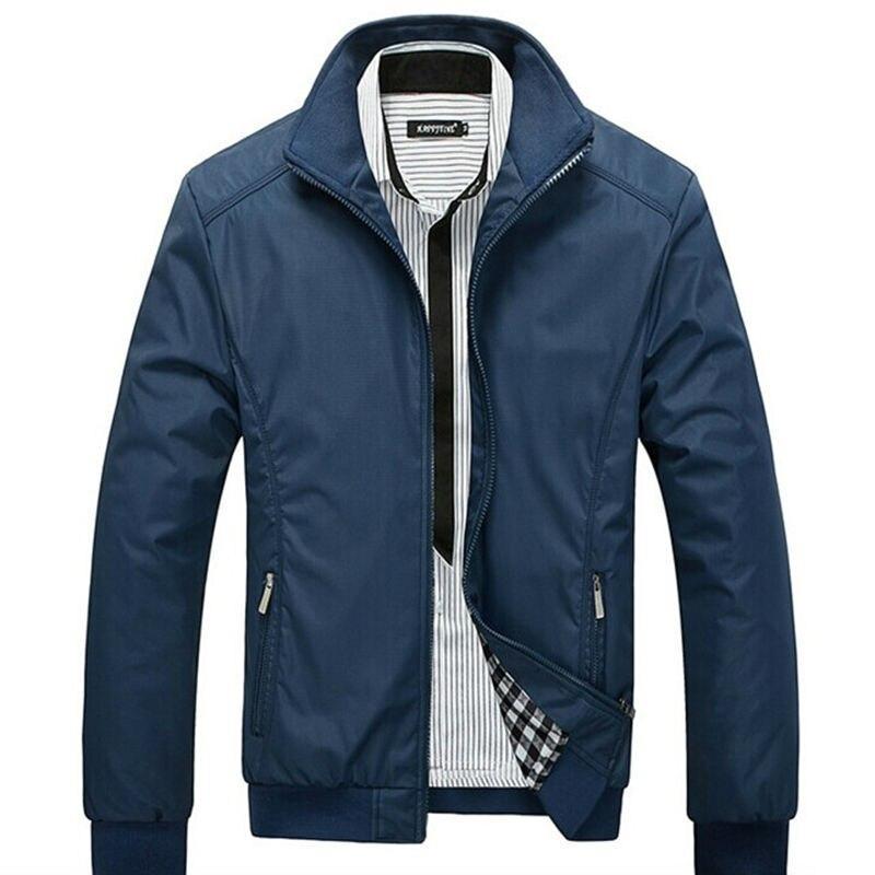 2018 새로운 도착 봄 남성 솔리드 패션 자 켓 남성 캐주얼 슬림 맞는 만다린 칼라 자 켓 3 색 M-5XL