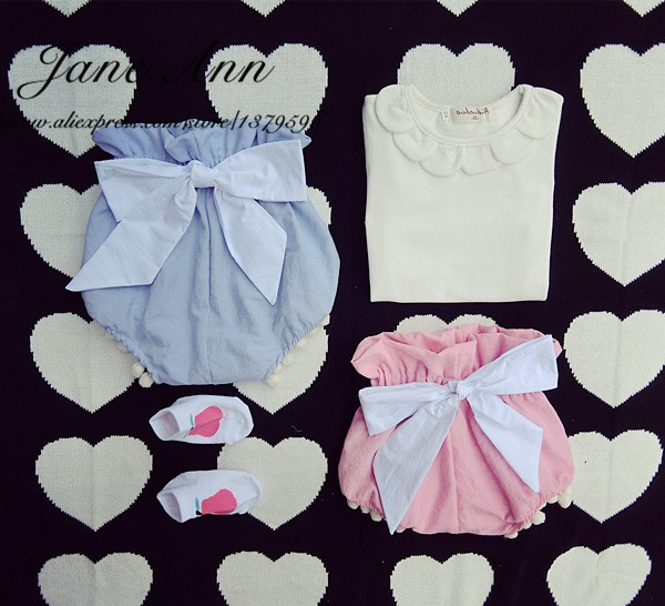 Baby girl summer clothes Infant Toddler Girls shorts baby solid color Diaper Cover white T-shirt girl fashion clothing new 2016