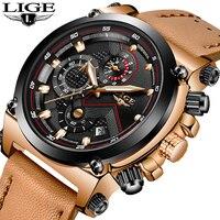 LIGE Mens Watches Top Brand Luxury Quartz Watch Men Fashion Waterproof Leather Army Military Sports Watch