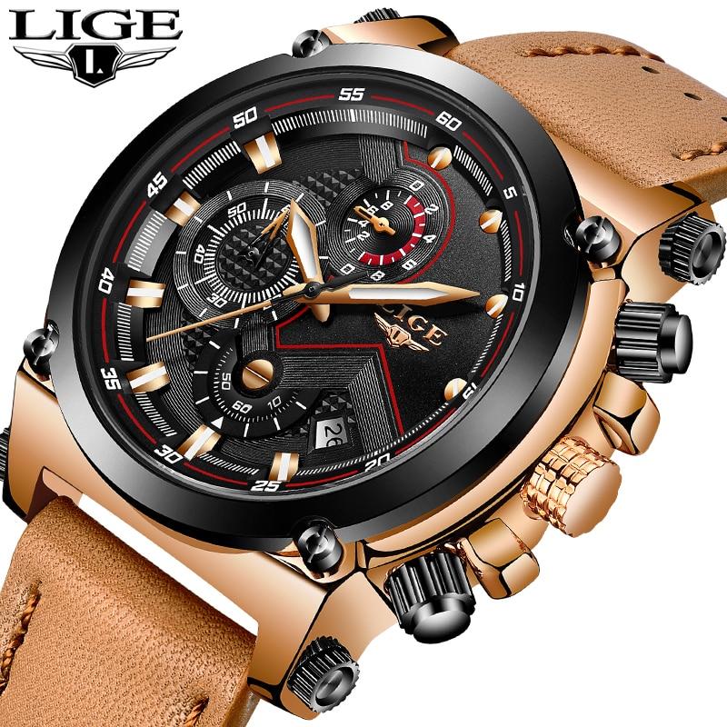 LIGE Mens Watches Top Brand Luxury Quartz Watch Men Fashion Waterproof Leather Army Military Sports Watch Man Relogio Masculino