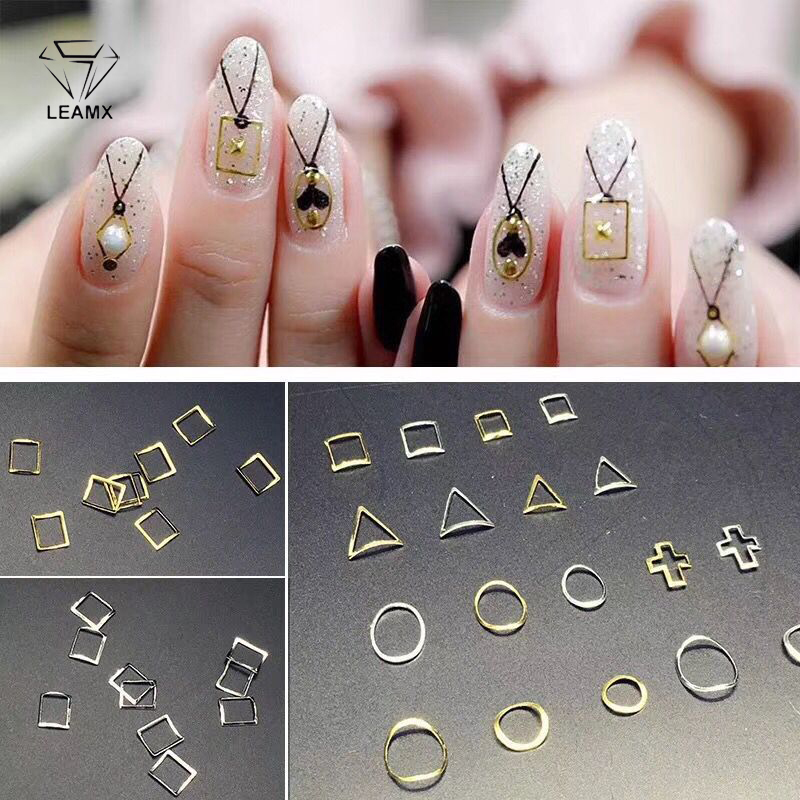 LEAMX 100psc Nails Art Decorations Gold And Silver Heart-shaped Accessories Manicure 3d Metal Nail Charms  Rhinestone Studs DIY