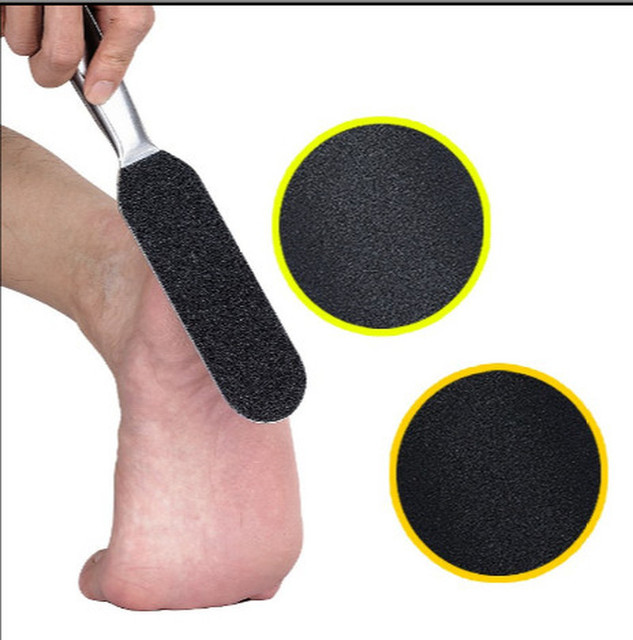 Double Side Stainless Steel Pedicure Foot File +10Pcs Dry Sanding Paper Hard Skin Remover Feet Care Pedicure Tools New 1