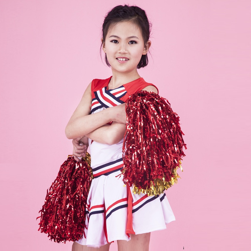 (2pcs Pom Poms+1set Costumes) Cosplay Cheerleaders Costume Uniforms High School Students Kids Boys Girls Costume Cheerleader