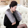Gours Winter Women's Real Natural Mink Fur Coat Ladies Black Mink Fur Long Overcoats with Fox Fur Collar Warm 2016 New Arrival