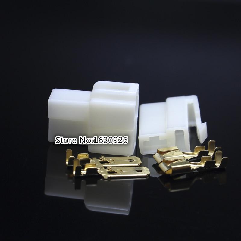 2 set Car Vehicle Motorcycle 6.3mm 4-Way 2*2P Electrical Connector Terminal Block