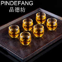 PINDEFANG 6pcs Egg shaped Elegant Hand-blown Heat-resistant 60ml tea cups Art of glass cup Kung-fu teaware wine cup Giftset