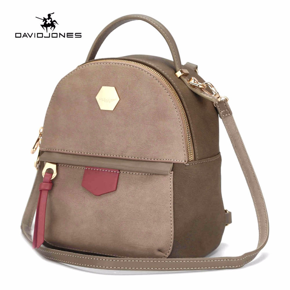 DAVIDJONES women backpacks pu leather female shoulder bags small lady patchwork school bag girl brand softpack