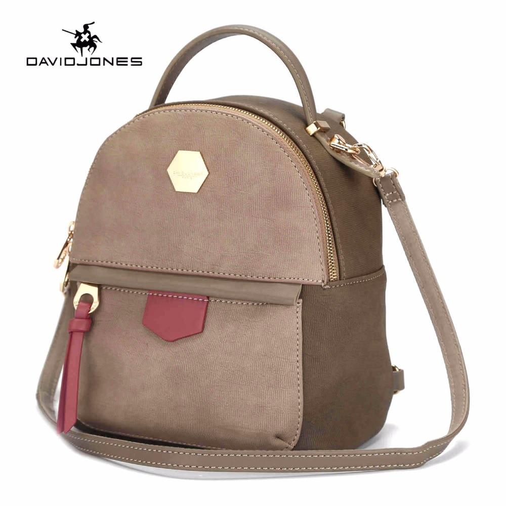 DAVIDJONES women backpacks pu leather female shoulder bags small lady patchwork school bag girl brand softpack