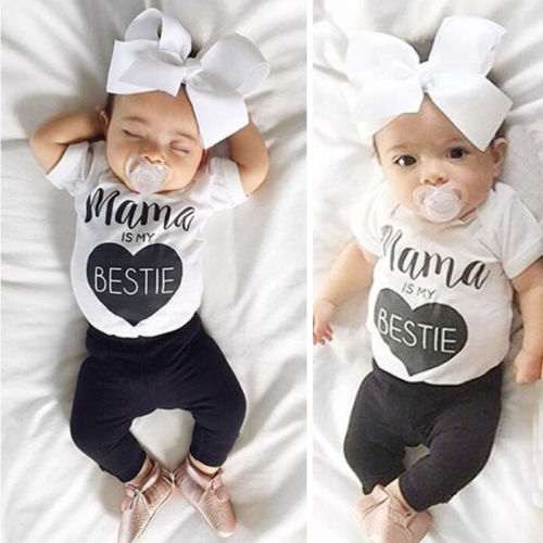 Sweet 2pcs Baby Boys Girls T-shirt Top + Pants Trousers Cotton Clothes Outfits