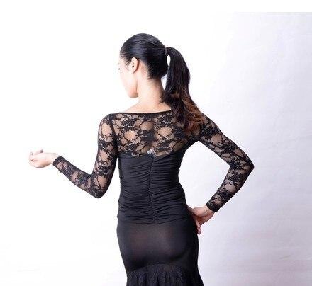 Danse de salon danse moderne dentelle creuse rayure taille à manches longues blouse T13031