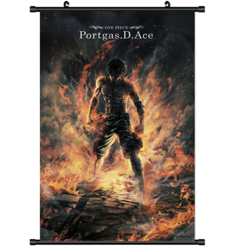 Anime One Piece Ace Poster Wall Scroll 8″x12″ / 12″x18″