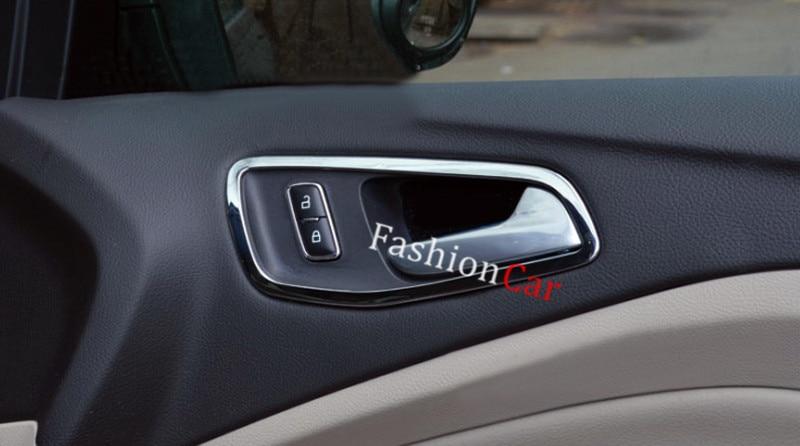 Chrome Car Interior Door Handle Bowl Frame Trim Cover 4pcsset For