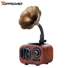 TOPROAD Mini Portable Bluetooth Wireless Speaker Retro Wood Speakers Loudspeaker Supprot FM Radio Hands-free Call TF Card AUX in(China)