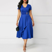 Women Dress Elegant Short Sleeve Irregular Solid Vestidos V Neck High Waist A Line Ladies