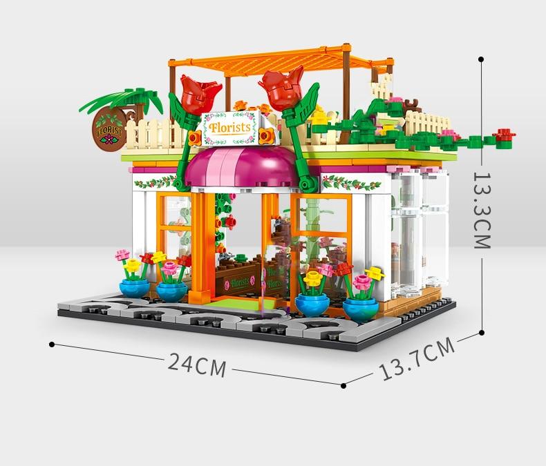 Street Hamburger Cafe Retail Convenience Store Architecture Building Blocks Compatible Legoed Technic City Street View Brick Toy 40