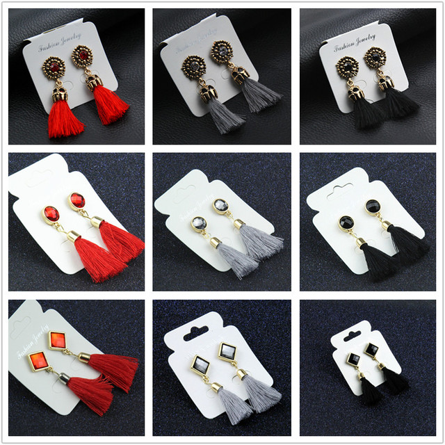 H3 Fashion Wedding Jewelry Red Black Long Tassel Earrings Vintage Crystal Drop E