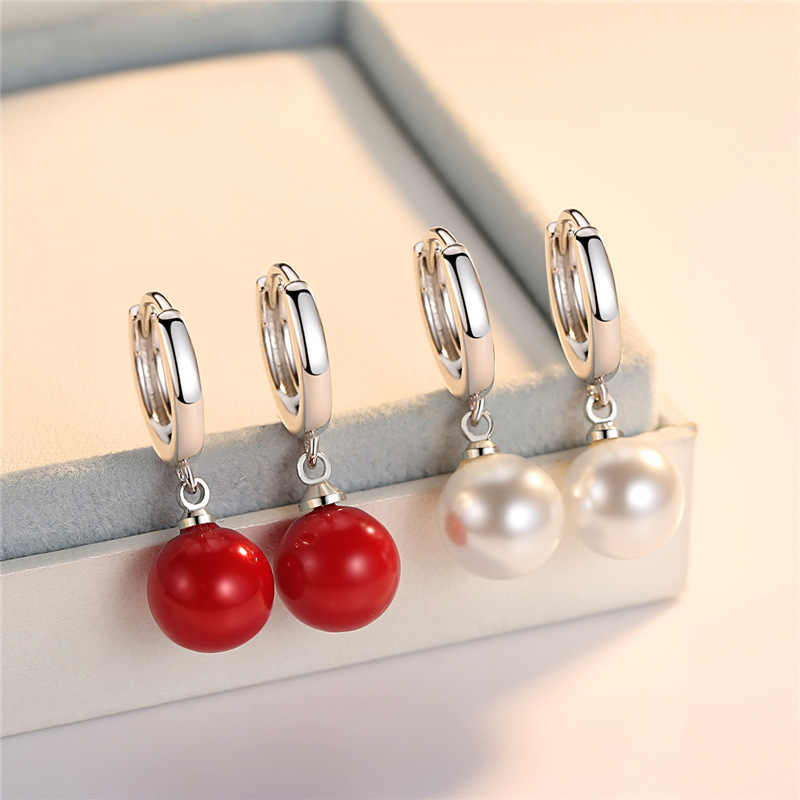 White Red Pearl Earrings Round Long Section Small Hoop Earrings Jewelry 2019 Ear Rings For Ladies Gifts Wholesale