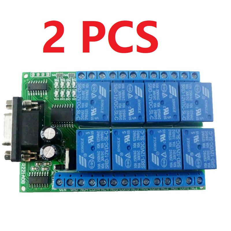 R221A08 2 2PCS 12VDC 8ch Serial Port Relay DB9 UART RS232 Switch for control Home lighting