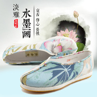 DC Dragon Cypress Women Shoes BeiJing Traditional Cloth Shoes HandMade Casual Shoes Spring Autumn Chinese Ink Painting