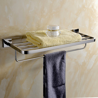 Contemporary Silver SUS 304 Stainless Steel Modern Bathroom Towel Holder Polish Fixed Bathroom Towel Holder 60CM