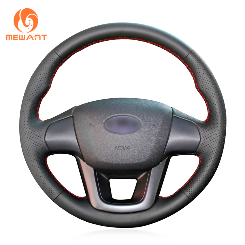MEWANT Black Artificial Leather Car Steering Wheel Cover for Kia K2 Kia Rio 2011 2012 2013 цена